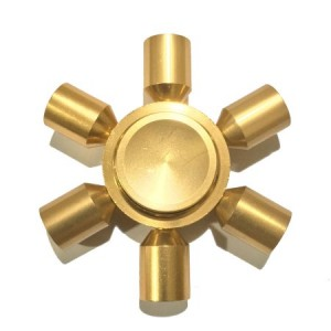 FSALU-104 Fidget Spinner  Six Leaves 3 Minutes Rotation Time ALUMINIUM COPPER GOLD - 46gr OEM