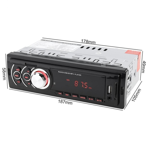 High Power MP3 Car In-Dash Stereo Audio FM 1 DIN Aux Input Receiver