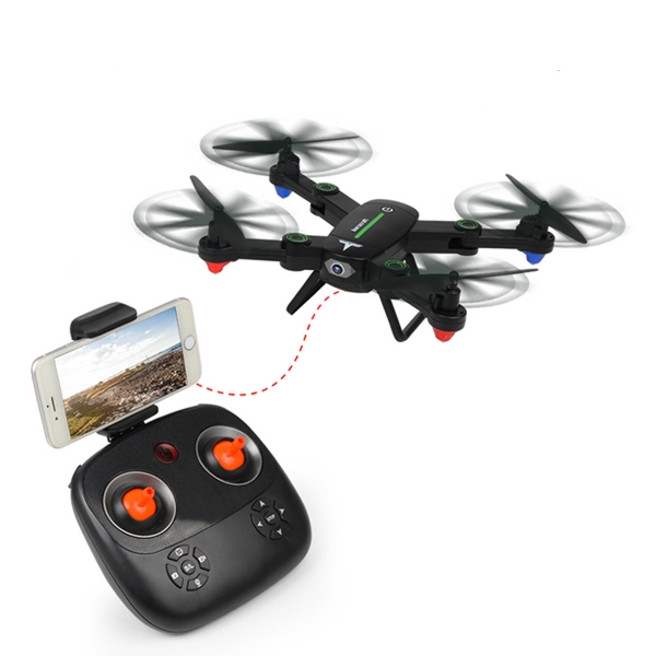 F16W 2.4GHz 4CH 6-Axis Wi-Fi FPV Foldable RC Helicopter Drone Quadcopter with 2.0MP Camera - Black
