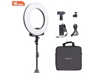 GEEKOTO Ring Light with LCD Display and Stand, 18-inch Ring Light for Phone and Camera, LED Ring Light with Phone Holder 48W, 3300K- 5600K for Photography, Makeup, YouTube Video Shooting