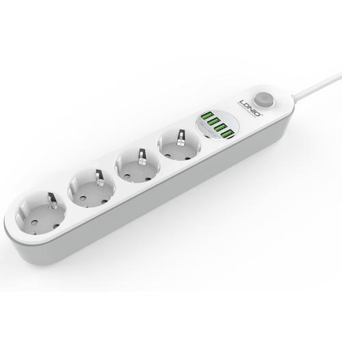 LDNIO SE4432 EU Plug Power Strip 4 AC Ports 2500W Sockets With 4 Port USB Charger Adapter Power Strip Smart Home Office Fast