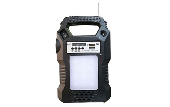 GD-8060 Solar Lighting  - Panel+Fm Radio+Battery+ Lamp+ Dc Cable Brighter Then Ever - Black