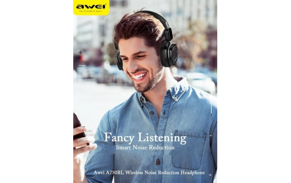 Awei A-750BL ANC Noise Reduction Bluetooth Headset Wireless Headphone with Mic