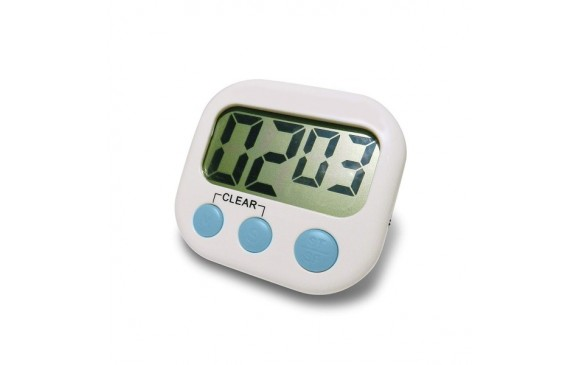 Digital Kitchen Timer, No Frills, Simple Operation, Big Digits, Loud Alarm, Magnetic Backing, Stand, White