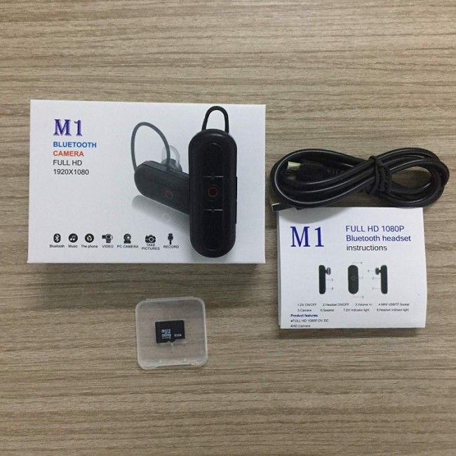 M1 Bluetooth Earphone Camera DVR HD 1080P Wireless Mini Camcorder With High-Performance Bluetooth Headset Portable Video Recorder